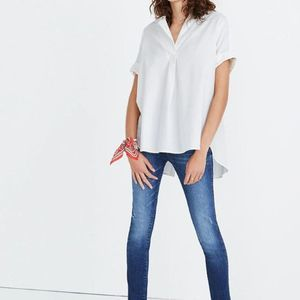 Madewell Courier Button-Back Shirt in Pure White